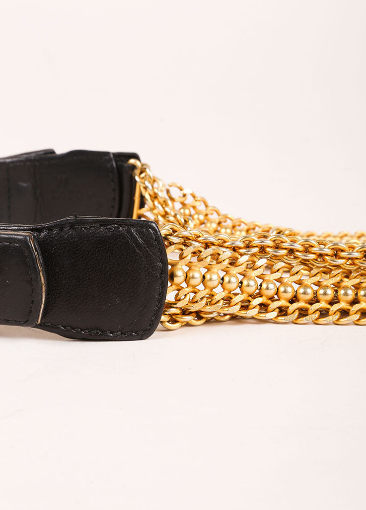 Donna Karan Black Leather and Gold Toned Multi Chain Belt Detail 2