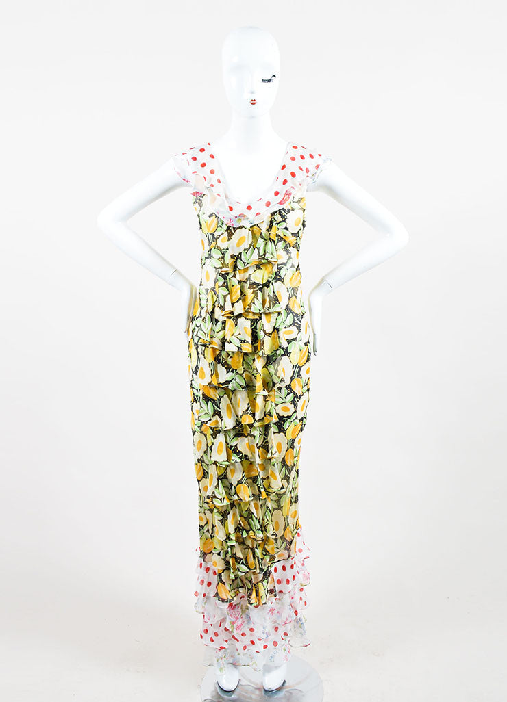 Multicolor Duro Olowu Silk Floral and Polka Dot Ruffle Dress Frontview