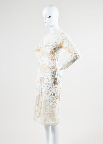 "Erdem White and Nude Sheer Lace Long Sleeve ""Henrike"" Dress Sideview"