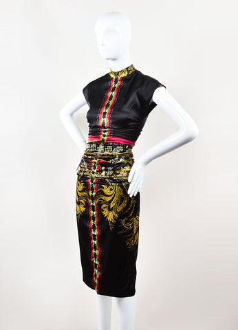 Black and Multicolor Silk Printed Ruched Fitted Sleeveless Dress