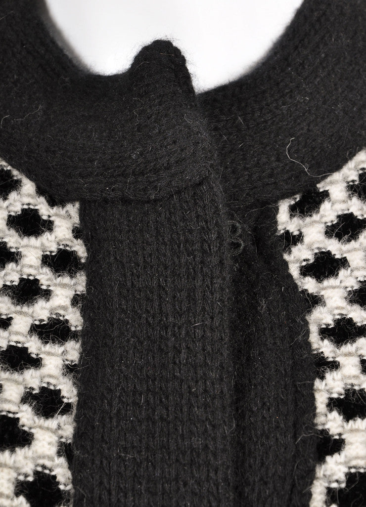 Etro New With Tags Black and White Wool Blend Woven Pattern Sweater Cardigan Detail