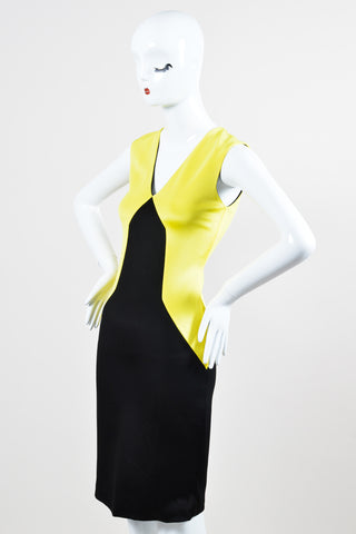 Black and Yellow Fausto Puglisi Colorblock Sleeveless Sheath Dress Front
