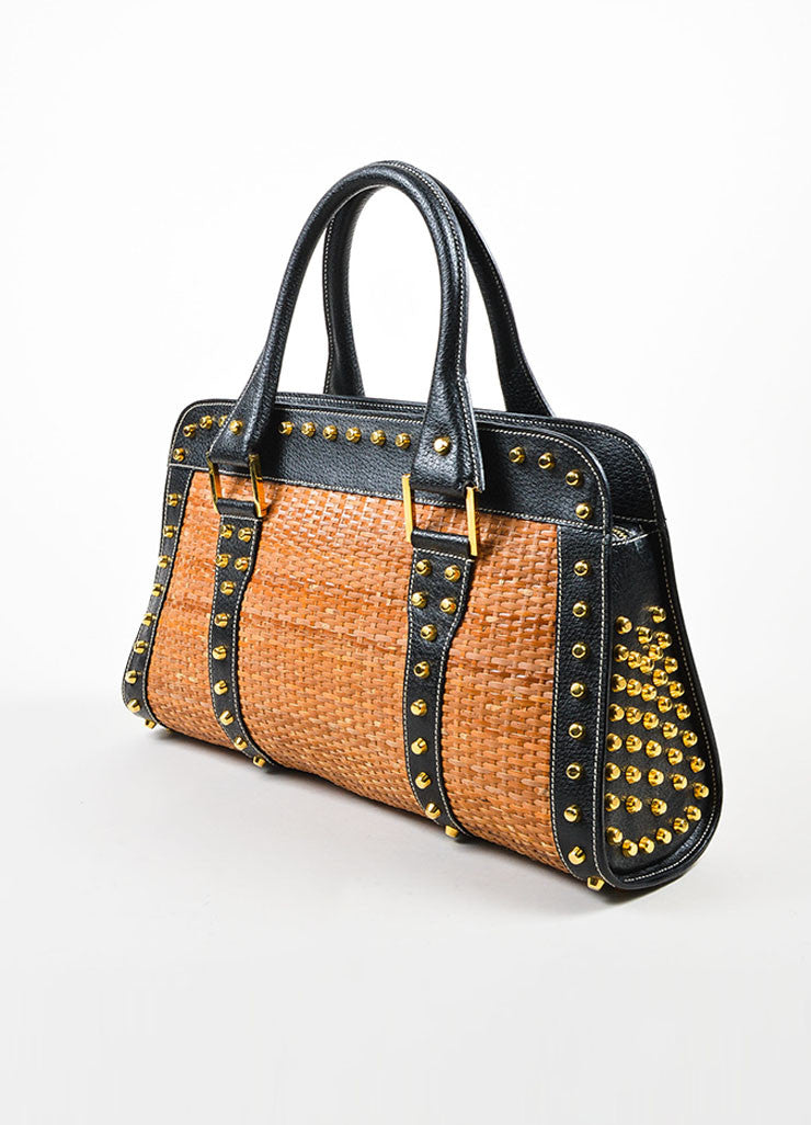Tan and Gold Fendi Leather and Raffia Studded Top Handle Tote Bag Sideview