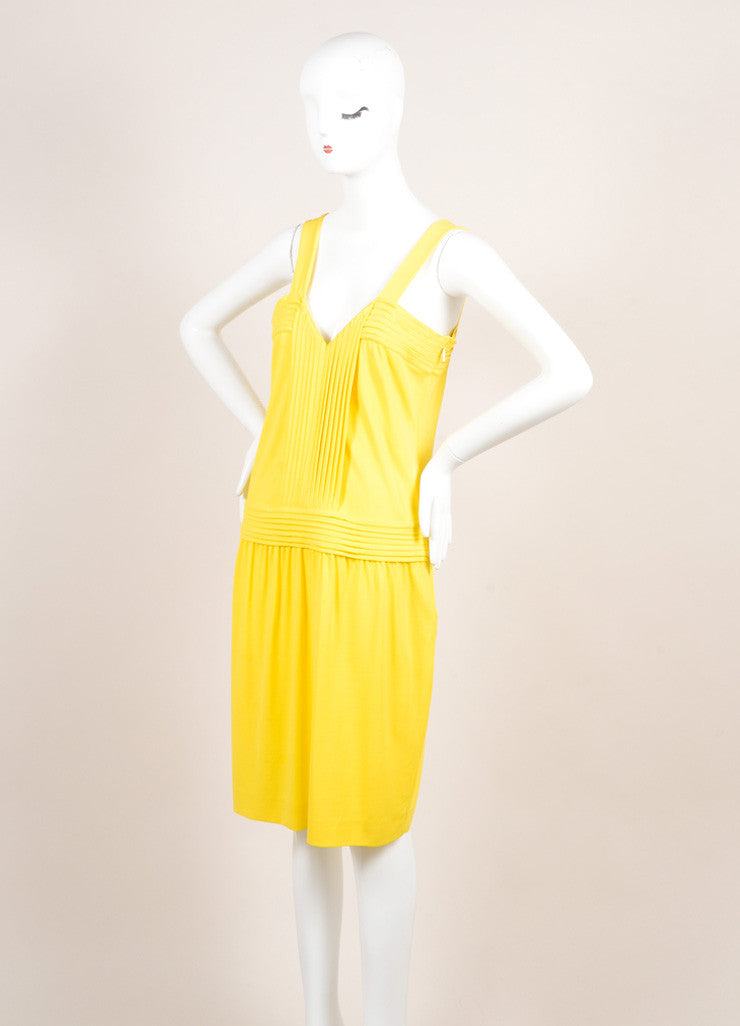 Fendi Yellow Jersey Pleated Sleeveless Dress Sideview