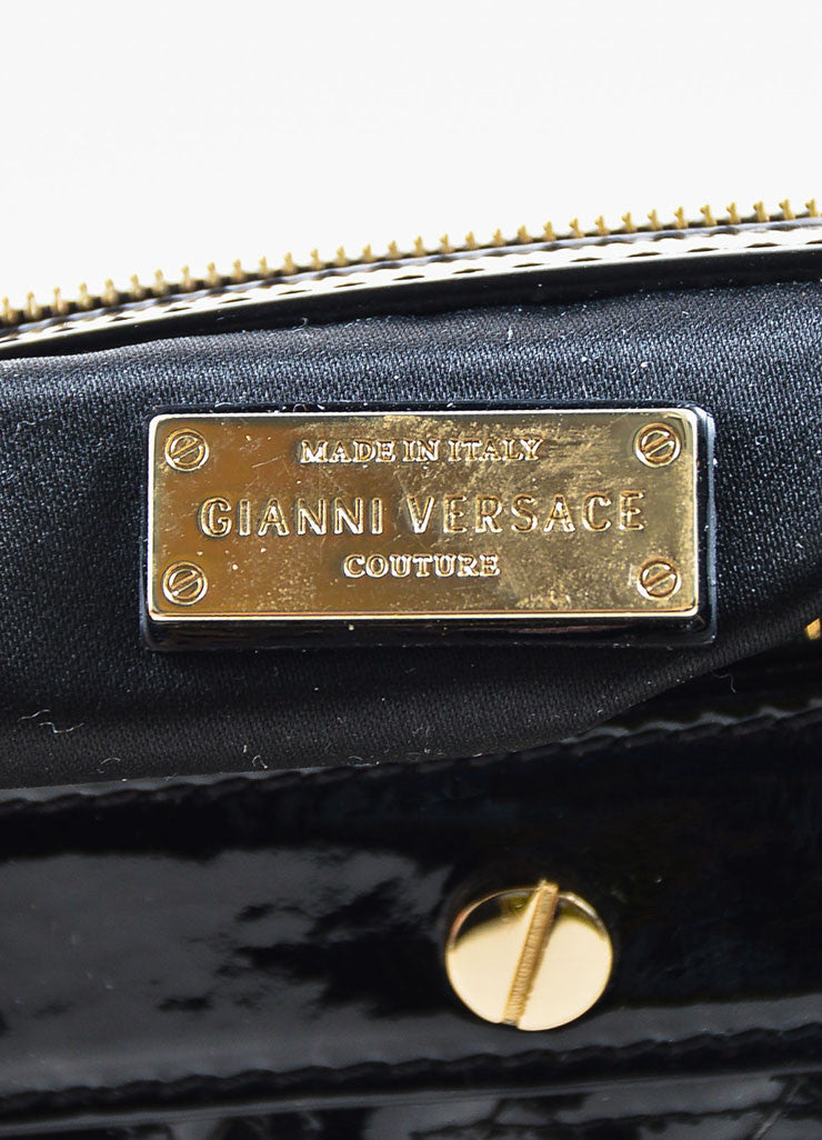 "Gianni Versace Black Patent Leather Quilted ""Snap Out of It"" Satchel  Bag brand"