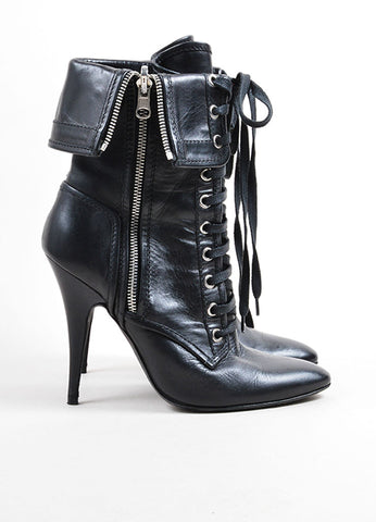 Giuseppe Zanotti for Balmain Black Leather Lace Up Fold Over Heeled Boots Sideview