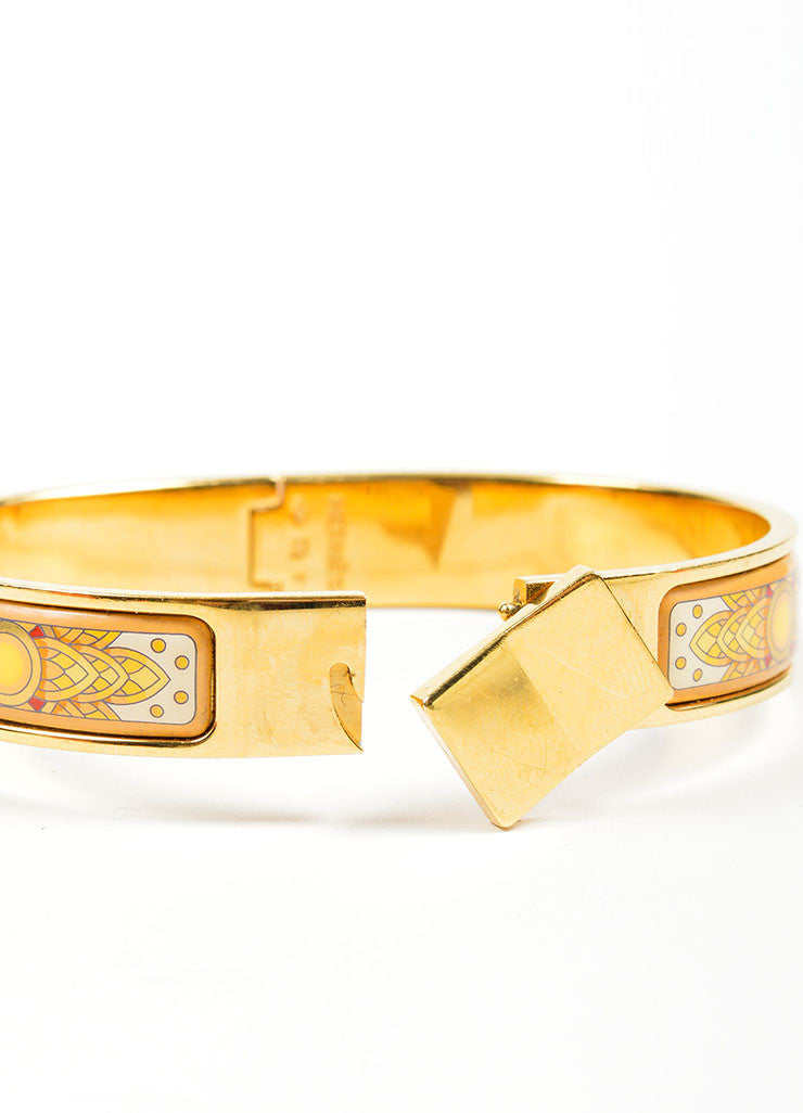 "Gold Toned and Yellow Hermes Printed Enamel ""Loquet"" Hinge Bangle Bracelet Closure"