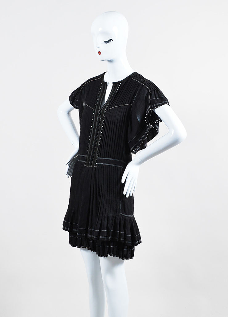 "Black Isabel Marant Beaded Pleated Short Sleeve ""Ral"" Dress Sideview"