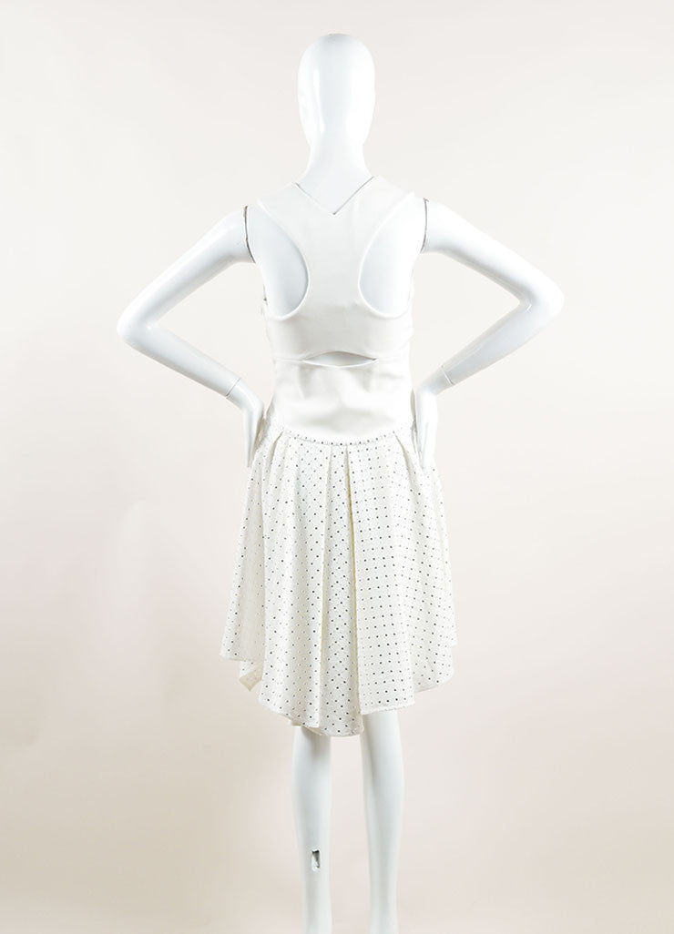 Jay Ahr White Eyelet Studs Asymmetrical Cut Out Sleeveless Dress Backview