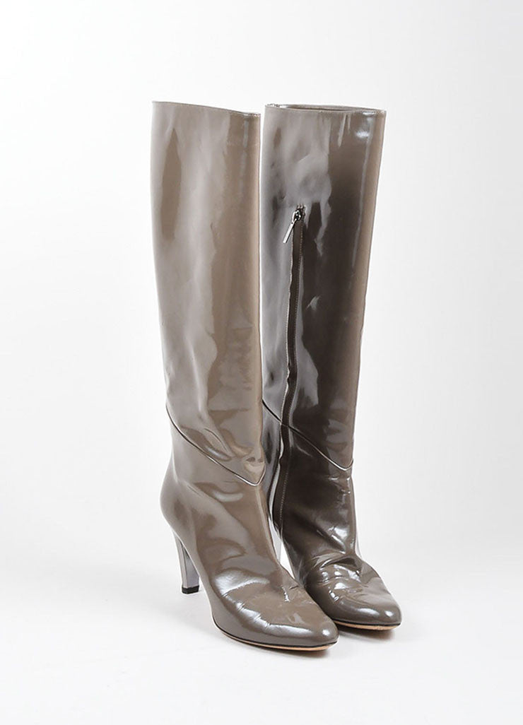Grey Jimmy Choo Patent Leather Knee High Metallic Heel Boots Frontview