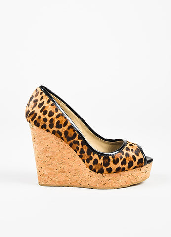 Jimmy Choo Tan and Brown Ponyhair Leopard Print Peep Toe Cork Wedges Sideview
