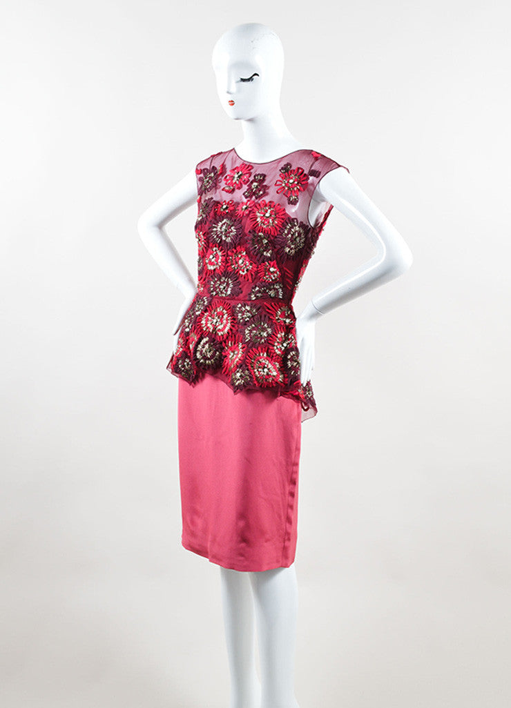 Lela Rose Red and Pink Silk Sequin Crystal Floral Peplum Sheath Dress Sideview