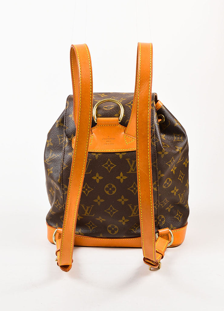 "Louis Vuitton Brown Canvas Monogram Drawstring ""Montsouris MM"" Backpack Backview 2"