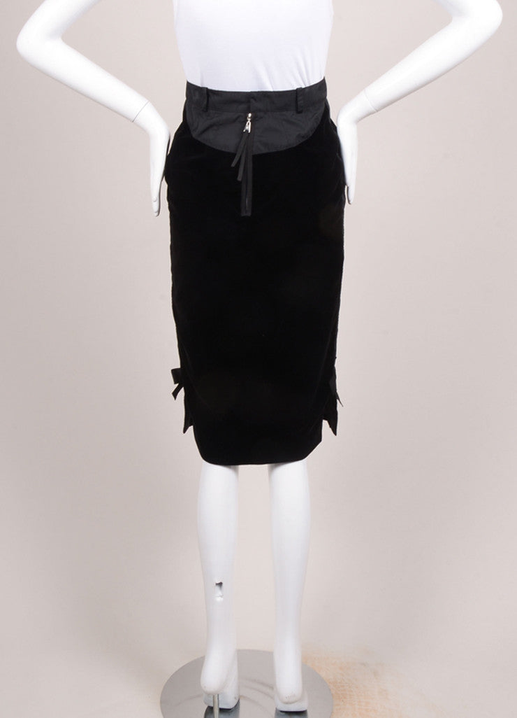 Louis Vuitton Black Velvet Bow Ribbon Trim Pencil Skirt Backview