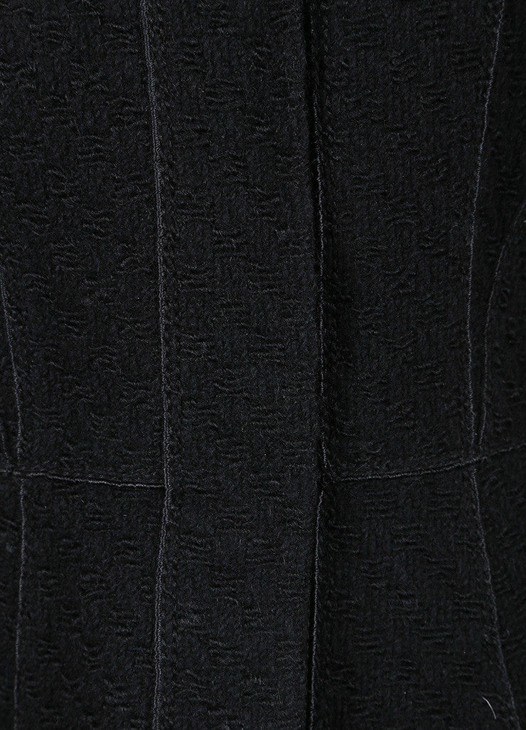 Louis Vuitton Black Wool Woven Textured Button Down Peplum Jacket Detail