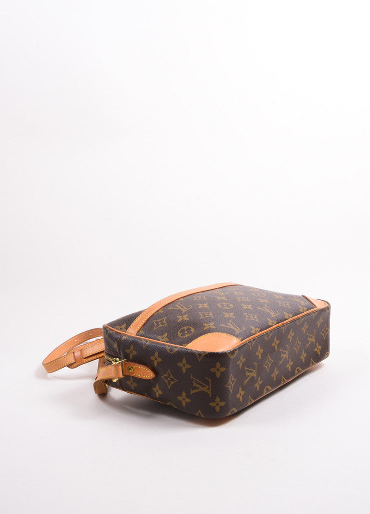 "Louis Vuitton Brown Coated Canvas Leather Monogram ""Trocadero 27"" Cross Body Bag Bottom View"