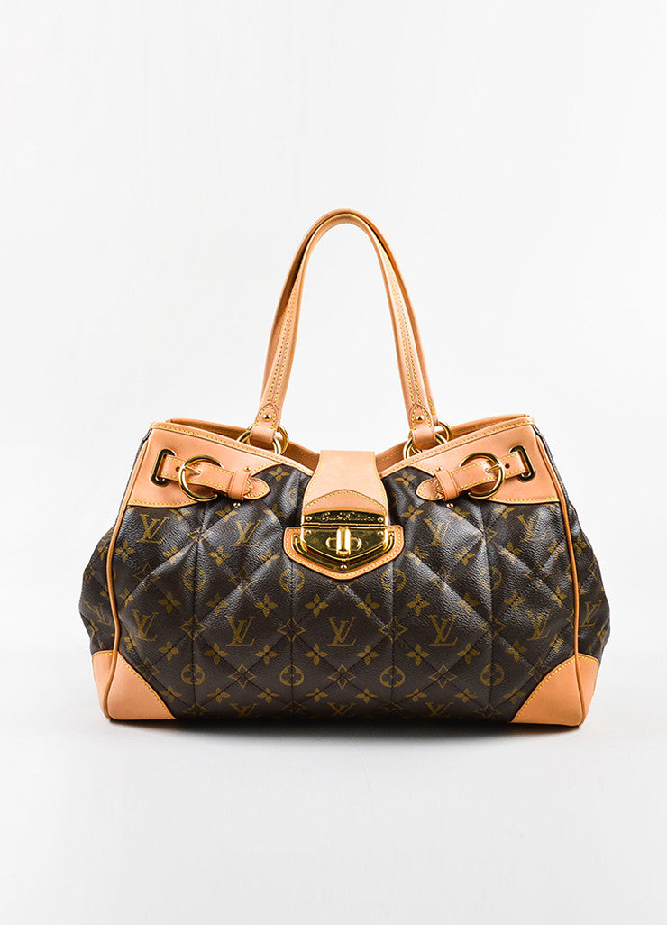 "Brown Tan Louis Vuitton Coated Canvas Monogram Quilted ""Etoile Tote Front"