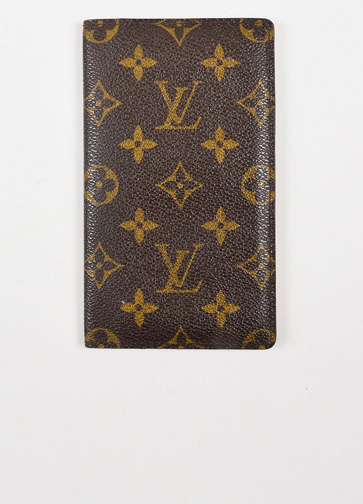 Louis Vuitton Brown and Tan Coated Canvas Pocket Agenda Cover Frontview