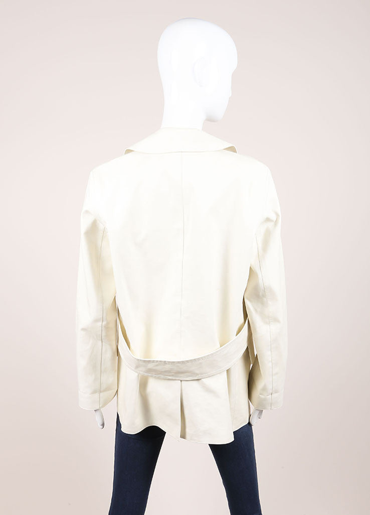 Louis Vuitton Cream Double Breasted Short Cotton Trench Coat Backview