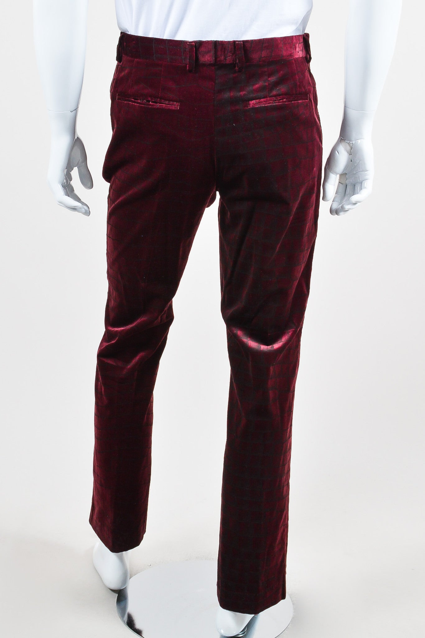 MEN'S Maroon Roberto Cavalli Velvet Alligator Trousers Back