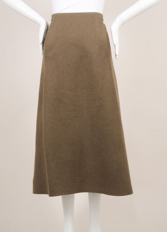 Marc Jacobs Army Green Wool Wrap Belted A-Line Midi Skirt Frontview