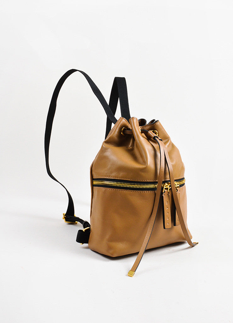 Marni Tan Leather Zip Detail Drawstring Bucket Backpack Bag Sideview