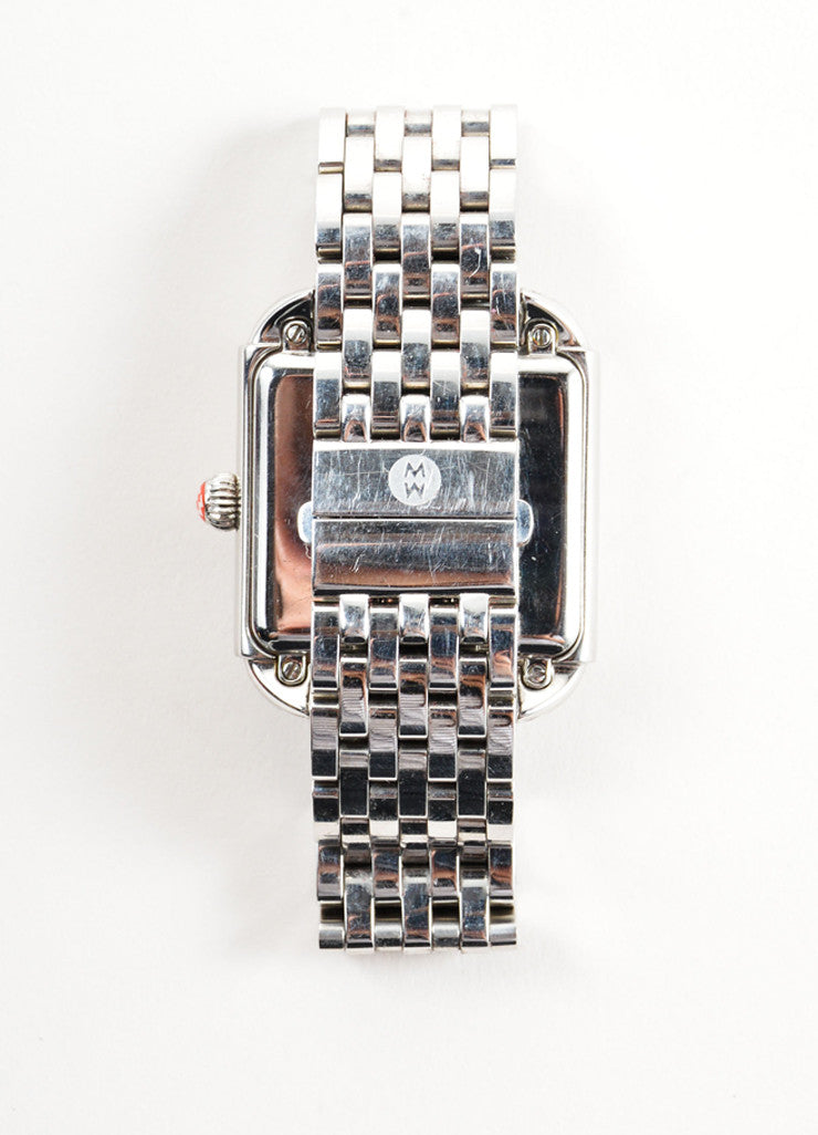 "Michele Stainless Steel and .30 TCW Diamond Band ""Milou"" Watch Backview"