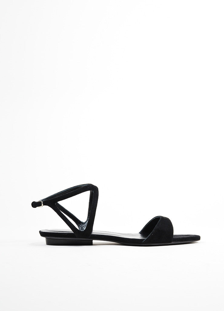 "Black Suede Narciso Rodriguez ""Carolyn"" Flat Sandals Sideview"