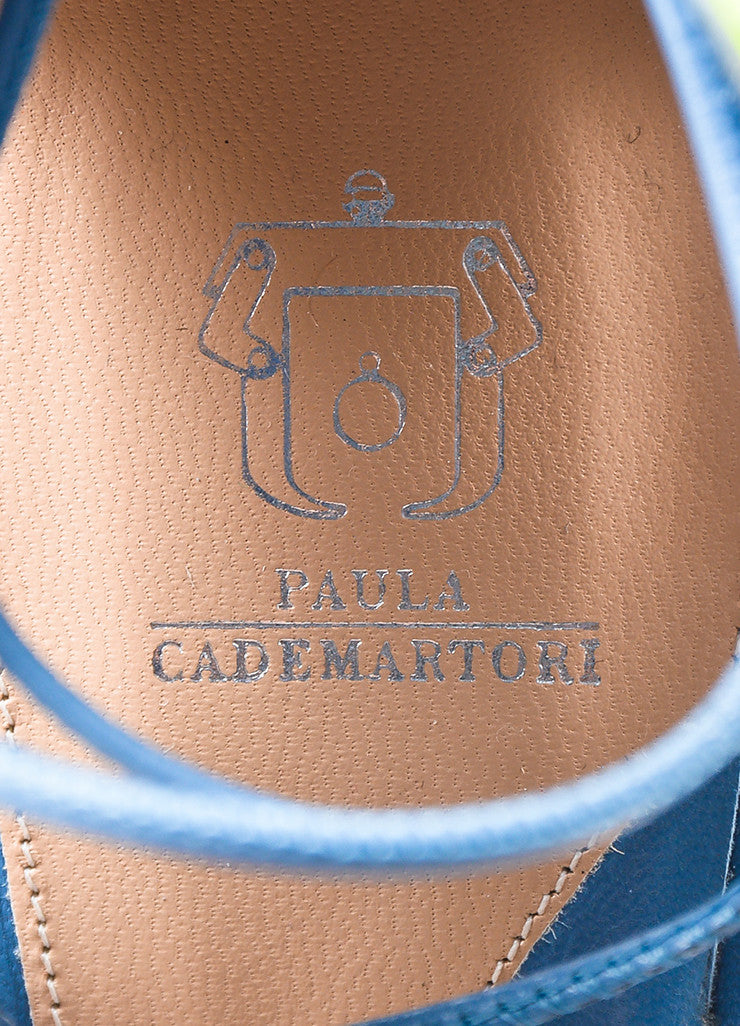 "Paula Cademartori Blue and Pink Leather Suede ""Lotus"" Sandals Brand"