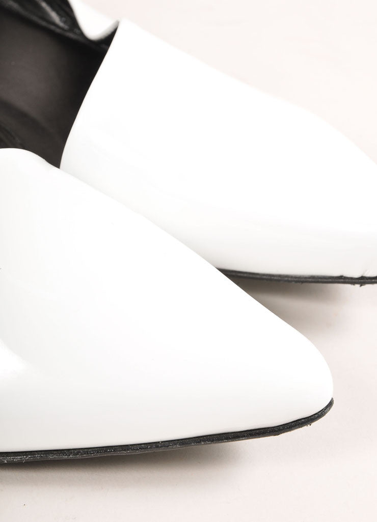 Pierre Hardy White Patent Leather Pointed Toe D'Orsay Flats Detail