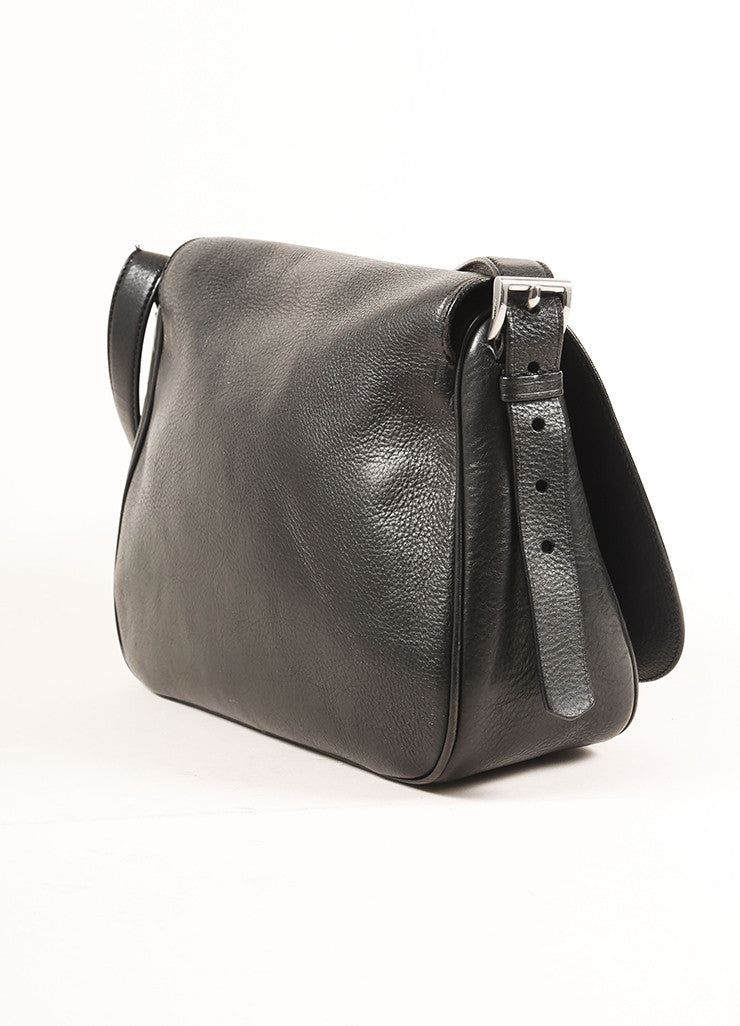 Prada Black Leather Saddle Bag Sideview