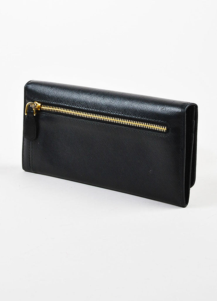 Prada Black Saffiano Leather Gold Toned Metal Trifold Continental Wallet Sideview