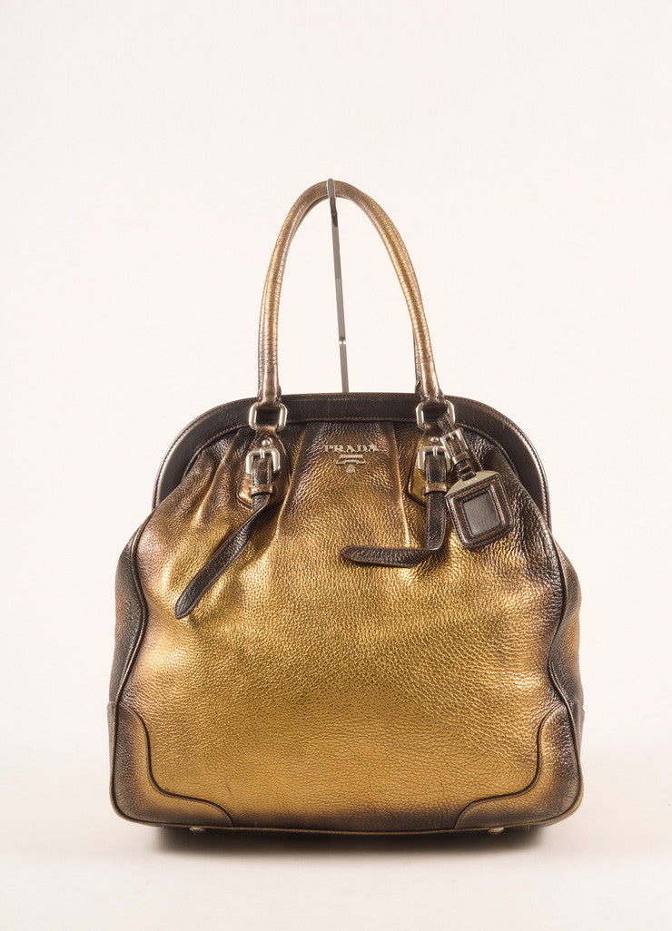 Prada Bronze and Gold Pebbled Leather Ombre Structured Tote Bag Frontview