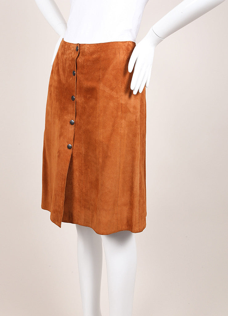 Prada Cognac Suede Leather Button Down A-Line Skirt Sideview