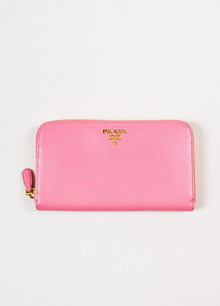 Prada Pink Gold Toned Saffiano Leather Zip Around Wallet Frontview