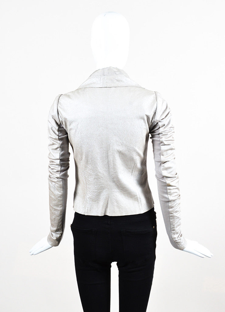 Rick Owens Taupe Metallic Zip Front Draped Leather Jacket Backview