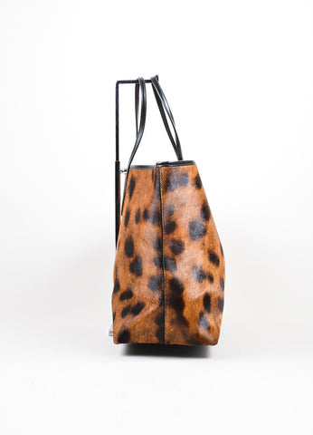 Black and Brown Rochas Cheetah Print Pony Hair Leather Tote Bag Sideview
