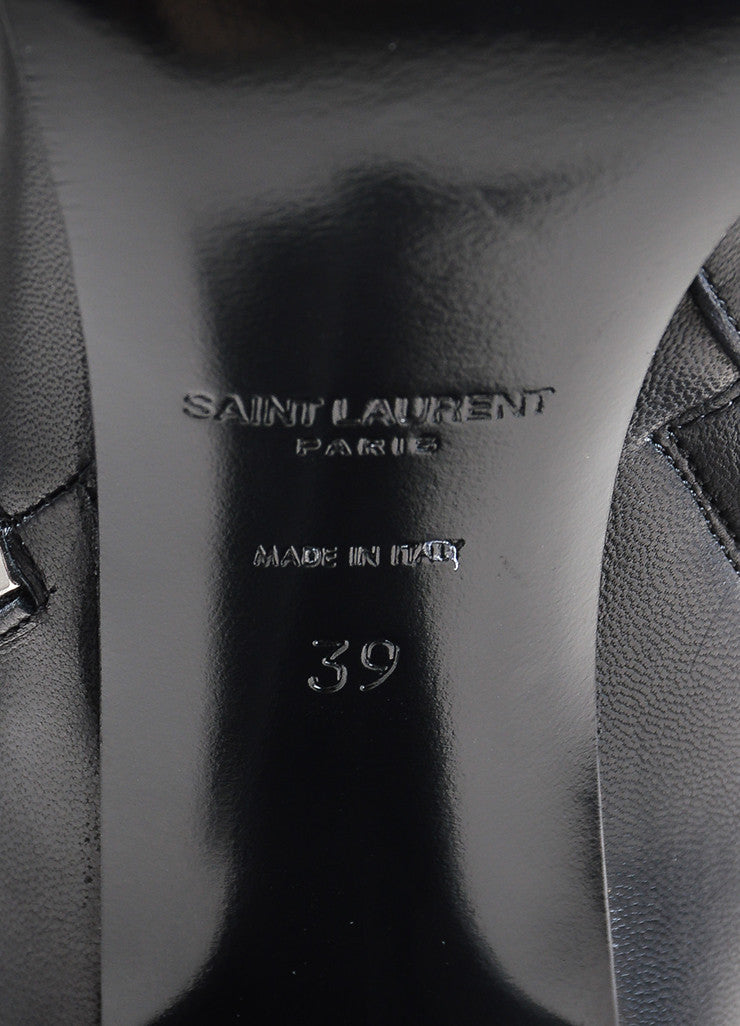 "Black Saint Laurent Leather Zipper ""Fetish"" Thigh High Boots Brand"