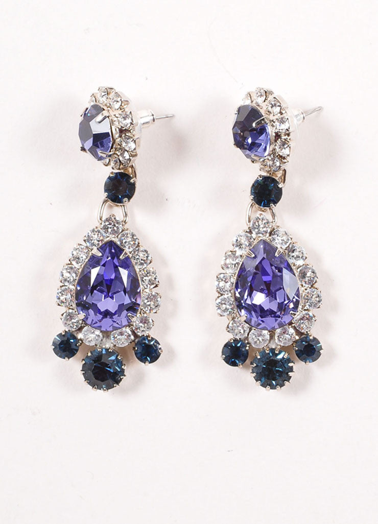 Thorin & Co. Purple and Blue Glass Rhinestone Embellished Drop Earrings Frontview