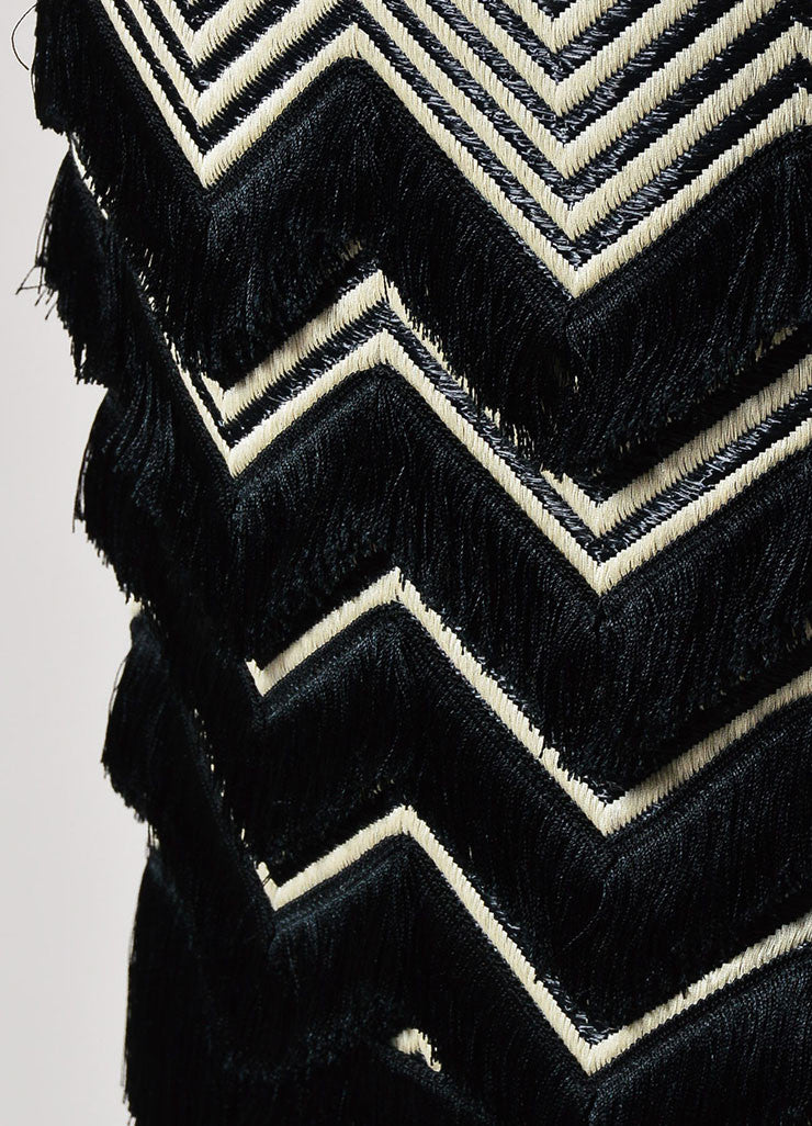 Black and White Tom Ford Leather Trim Mixed Weave Fringed Pencil Skirt Detail