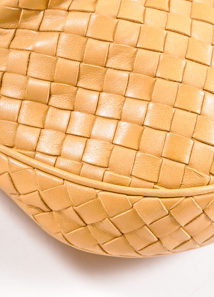 Bottega Veneta Tan Intrecciato Woven Leather Small Flap Cross Body Bag Detail