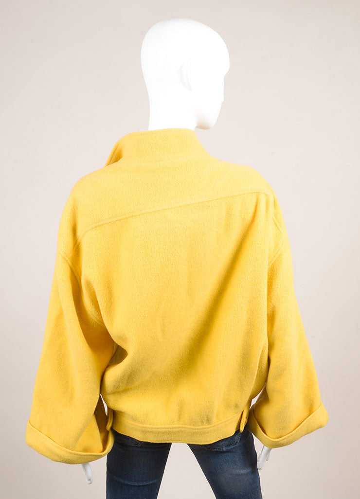 Chloe Yellow Wool Oversized Open Front Crop Sleeve Coat Backview