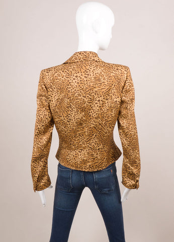 Gianni Versace Brown Silk Leopard Print Tailored Button Jacket Backview