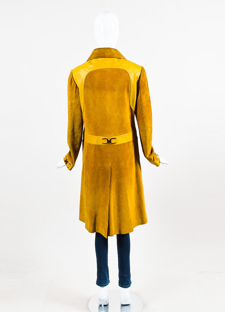 Gucci Yellow Suede Leather Trim Horseshoe Hardware Long Jacket Backview