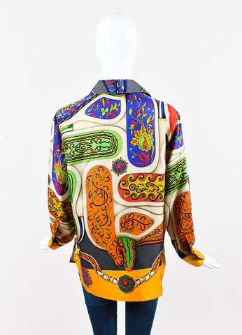 Hermes Multicolor Floral and Sangle Silk Printed Button Up Blouse Backview