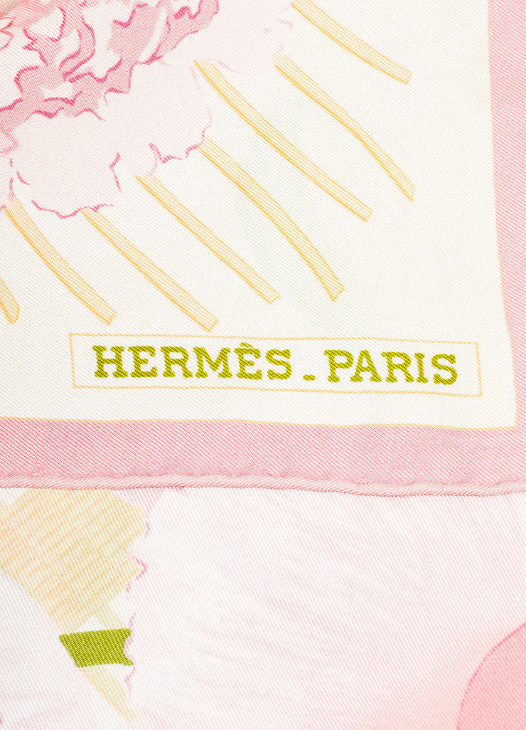 "Pink and Green Hermes Floral Print ""Les Pivoines"" Scarf Brand"
