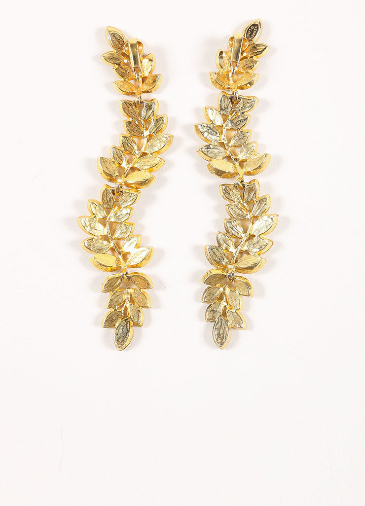 Kenneth Lane Gold Toned and Clear Rhinestone Leaf Statement Earrings Backview