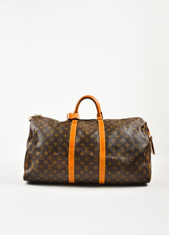 "Louis Vuitton Brown Coated Canvas Monogram ""Keepall 55"" Duffle Bag Frontview"
