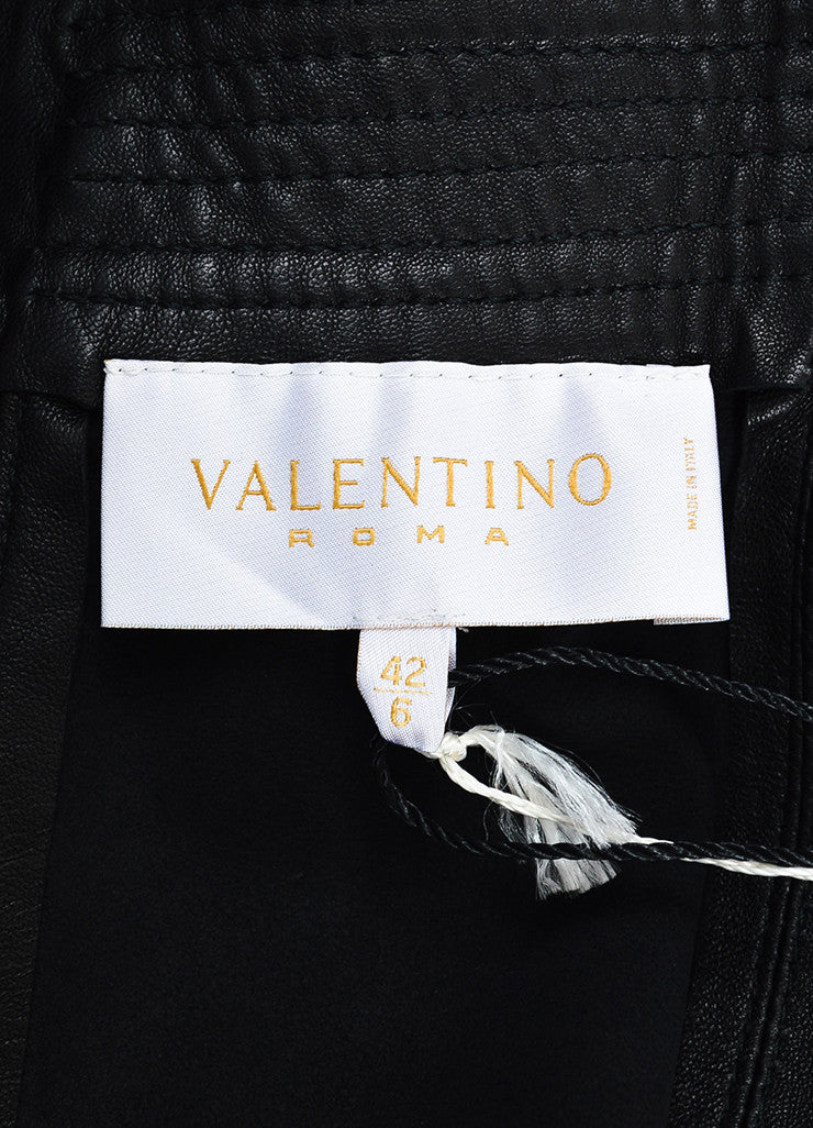 Valentino Black Leather Bow Cropped Cut Out Scalloped Jacket Brand
