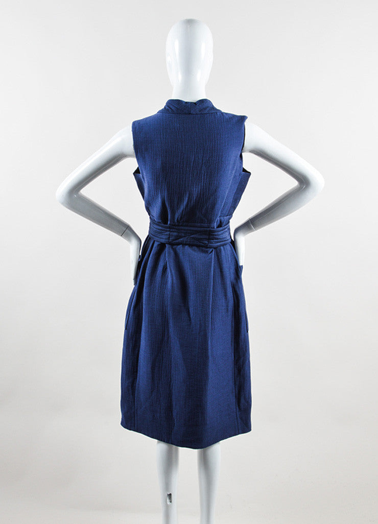 Victoria Beckham Blue Cotton Wool Matelasse Belted Sleeveless Dress Backview